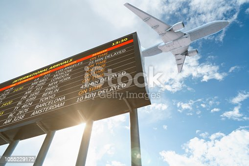 istock Airport Flight Information and Airplane Departing 1055229172
