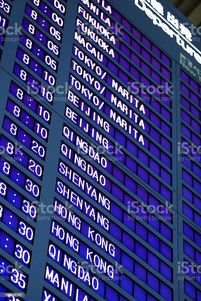 Airport Flight Information Board stock photo