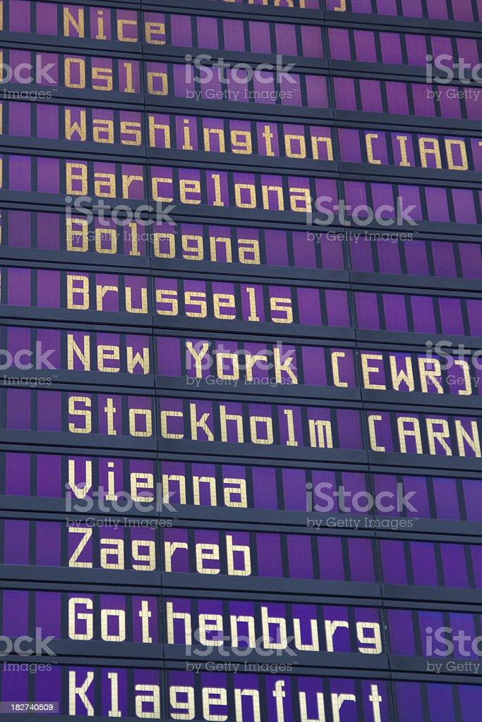 Airport Flight Information Board royalty-free stock photo