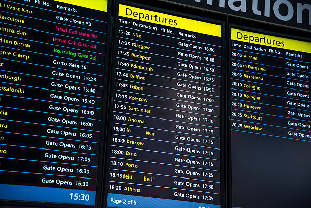 airport - flight panels. - arrival departure board stock photos and pictures