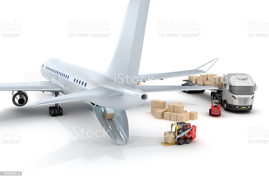 Airport : forklift is loading the airplane stock photo
