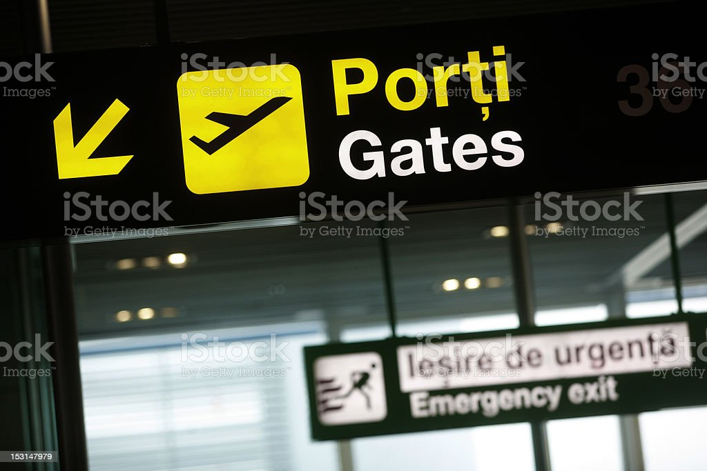 Airport gate sign royalty-free stock photo