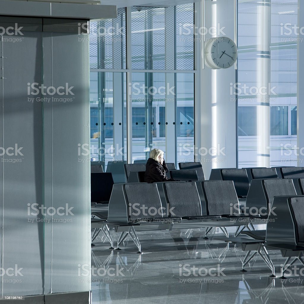 Airport Gate Waiting Woman royalty-free stock photo