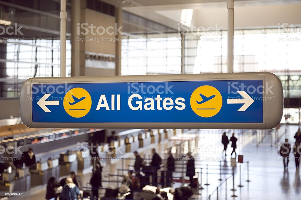 Airport gates sign royalty-free stock photo