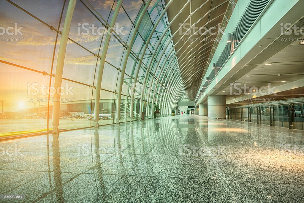 airport glass corridor stock photo