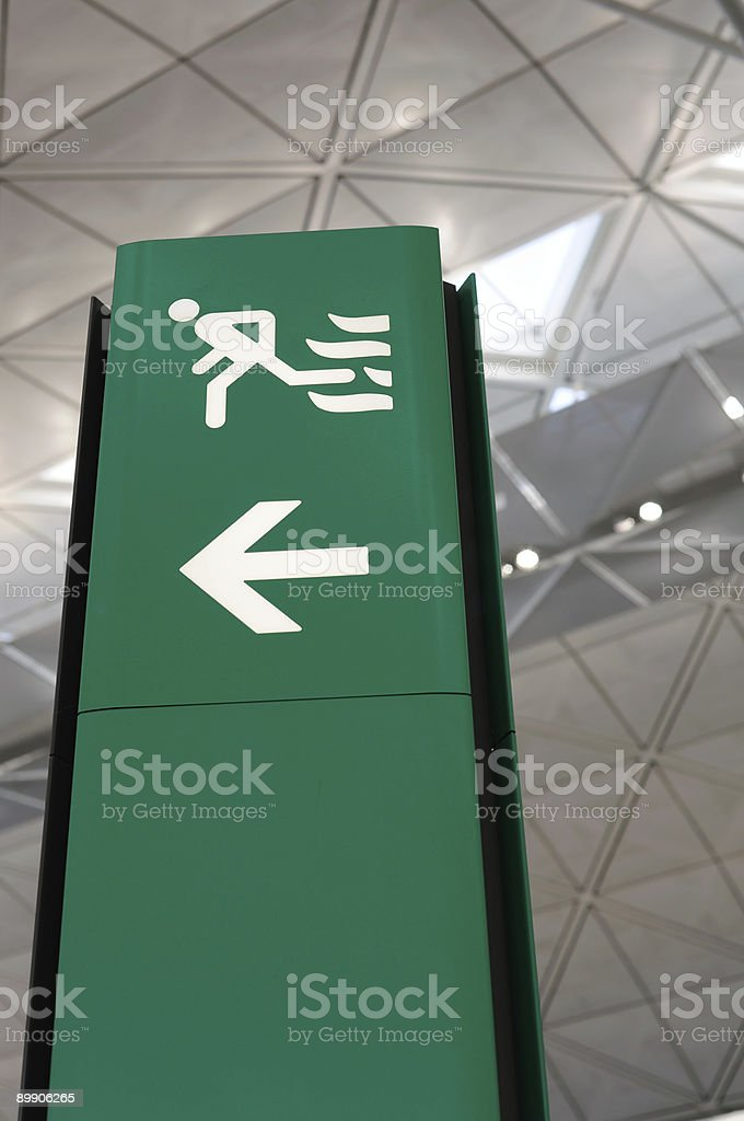 Airport green exit sign royalty-free stock photo