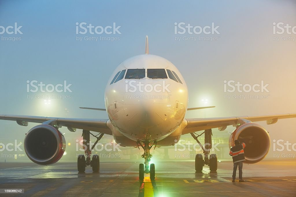 Airport in fog stock photo
