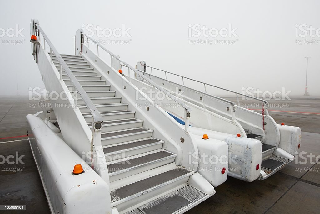 Airport in mystery fog stock photo