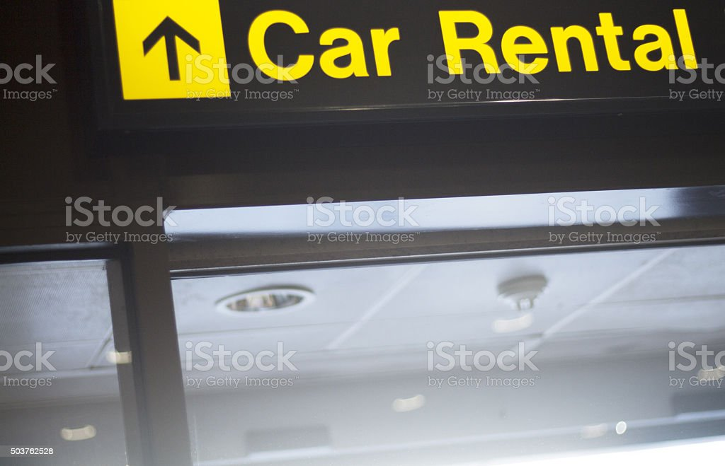 Airport information car rental sign stock photo