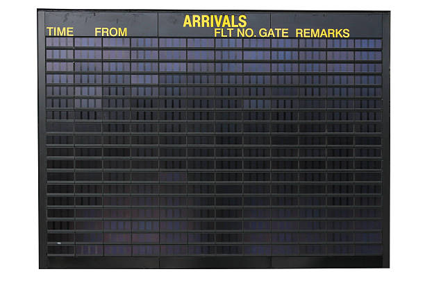 airport information - arrival departure board stock photos and pictures