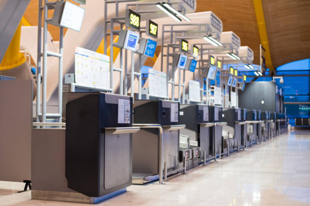 Airport inside terminal and check-in counter stock photo