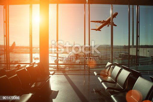 Airport interior travel airplane take off