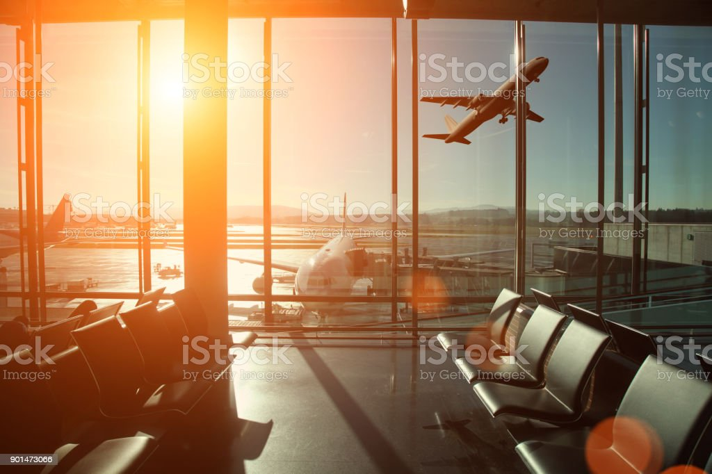 Airport interior travel airplane take off stock photo