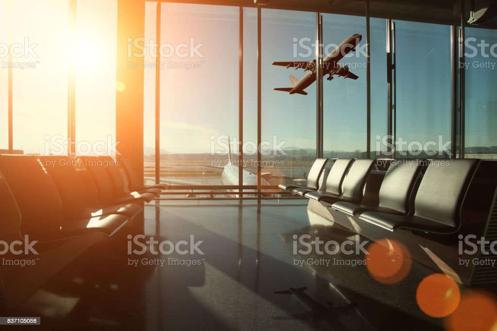 Airport interior travel stock photo