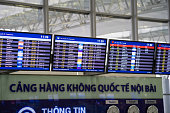 Hanoi, Vietnam - Apr 29, 2016: Airport LED display for departure times and destinations at Noi Bai international airport