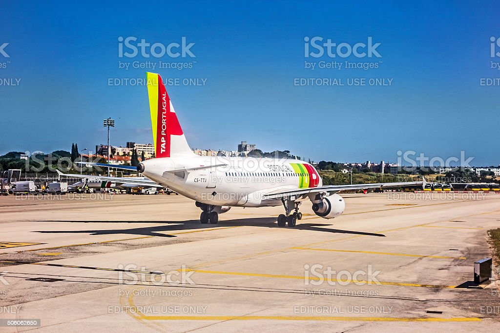 Airport Lisbon - Airbus A318 stock photo