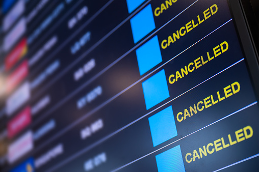 Airport lockdown, Flights canceled on information time table board in the airport while coronavirus outbreak pandemic issued around the world