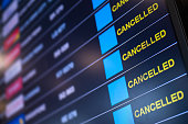 istock Airport lockdown, Flights cancellation on time table 1256339937