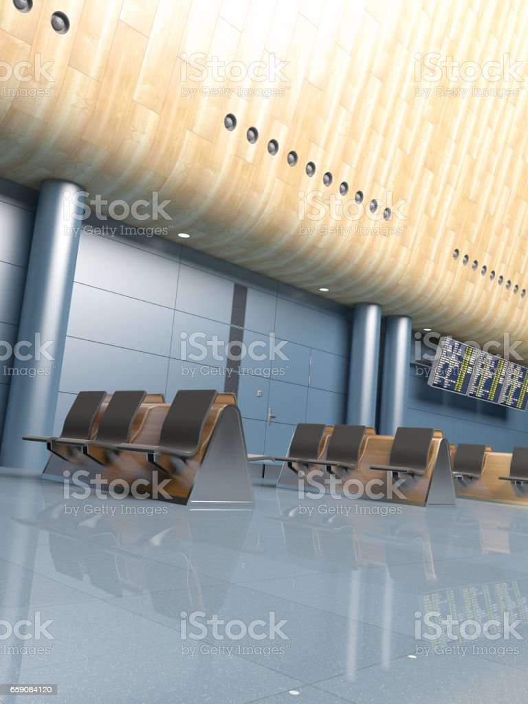 Airport Lounge Interior Scene stock photo