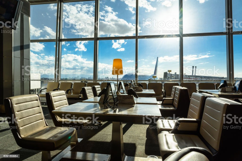 Airport lounge seating area stock photo