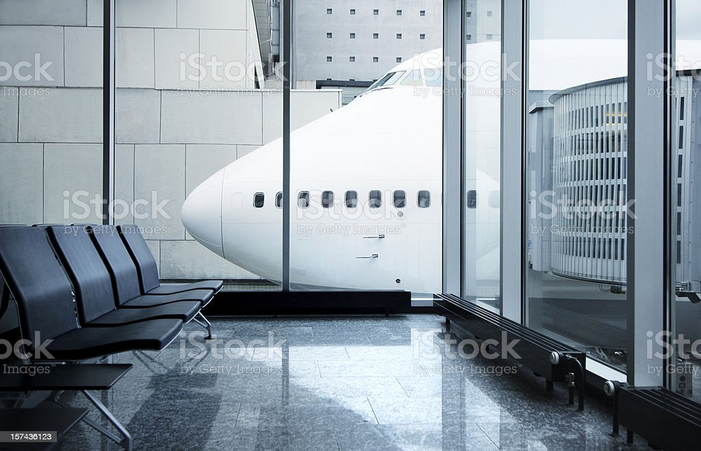 airport lounge with airplane royalty-free stock photo