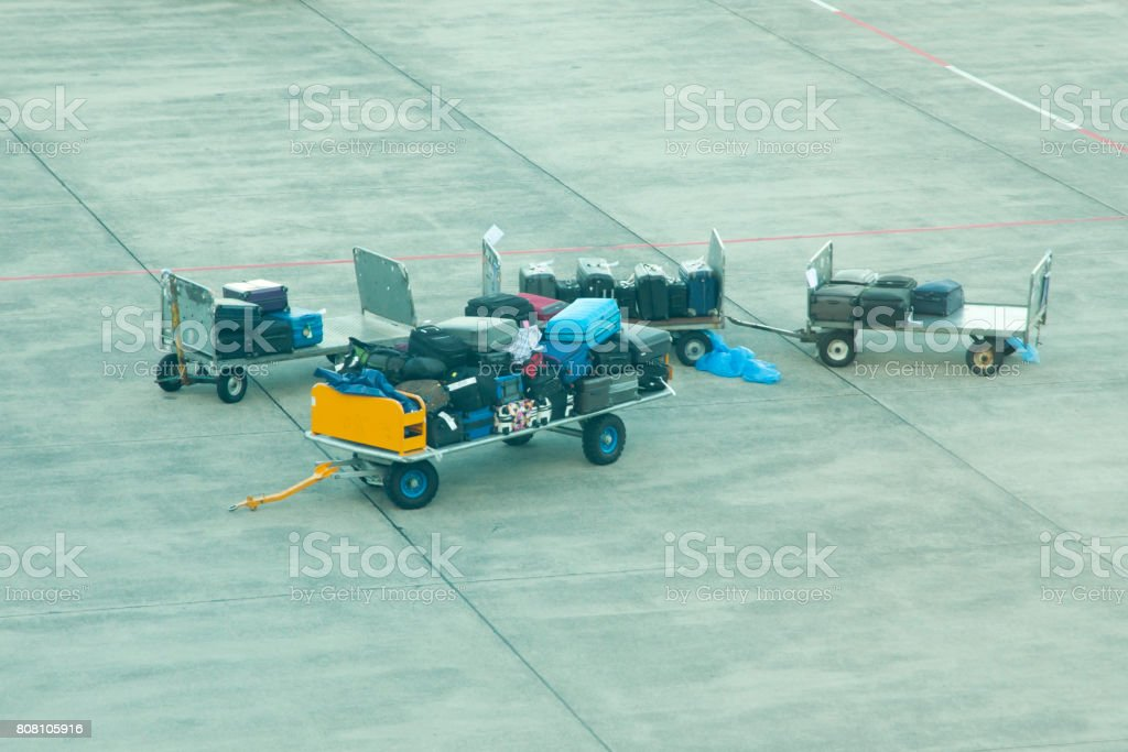 Airport Luggage Trolley stock photo