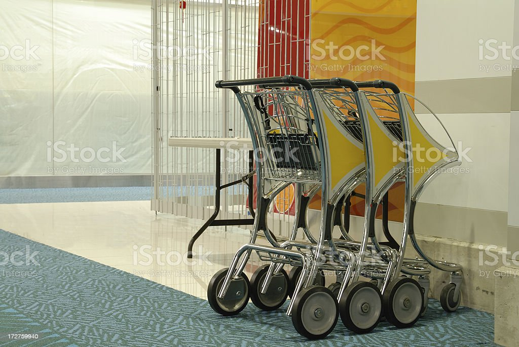 airport luggage trolleys royalty-free stock photo