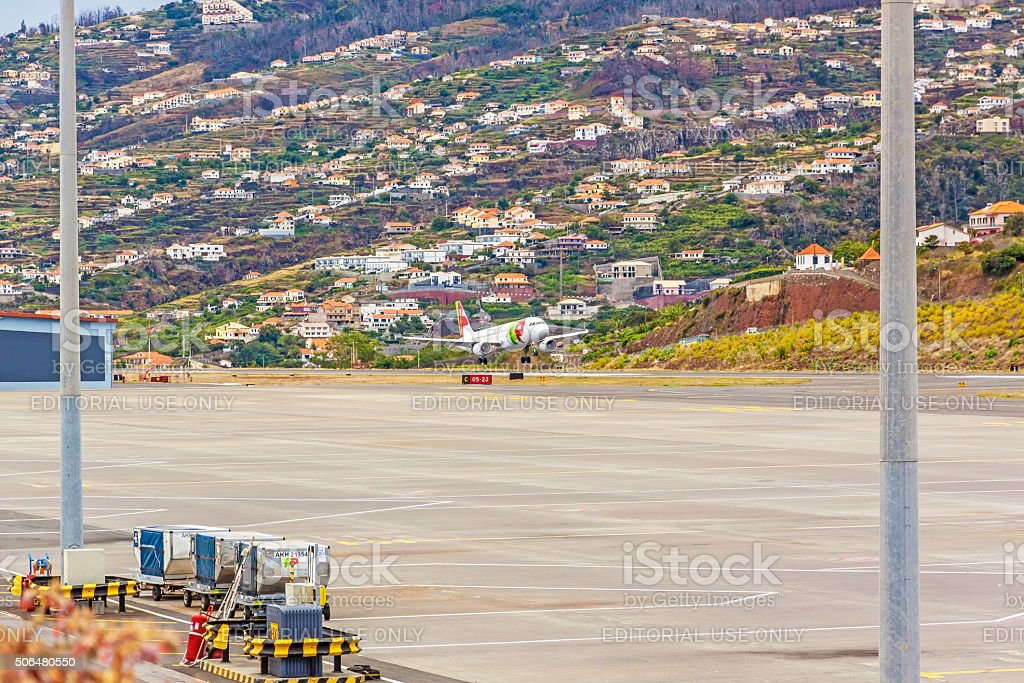 Airport Madeira - Airbus A318 stock photo