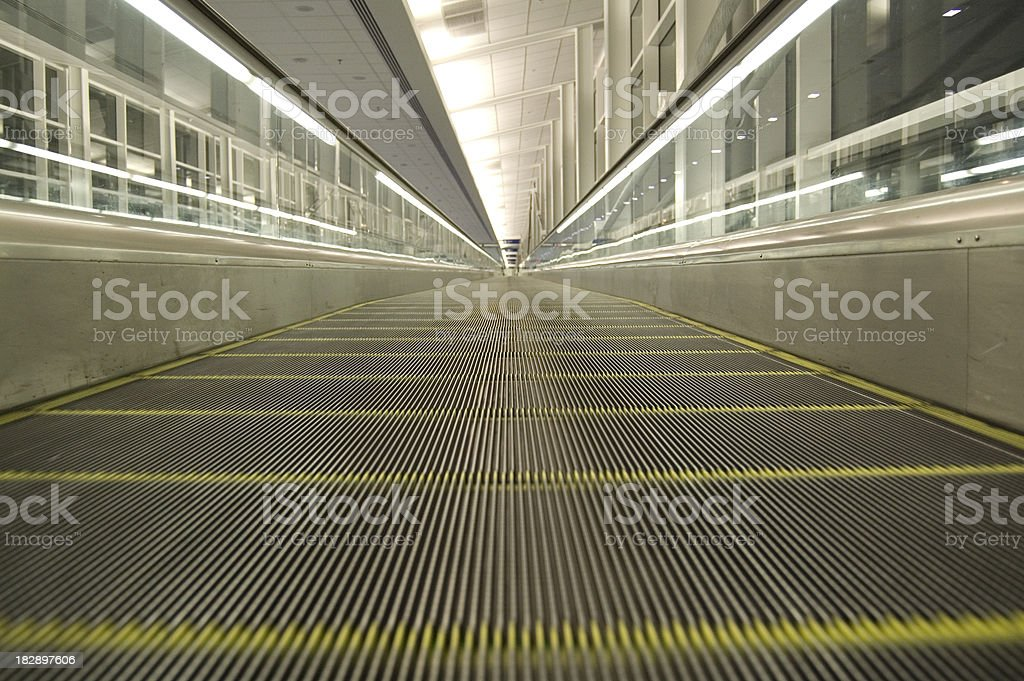 Airport Moving Walkway Perspective royalty-free stock photo