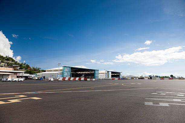 Airport Papeete Tahiti French Polynesia Airport Papeete Tahiti Airplane Landing Field. Tahiti Island, Society Islands, French Polynesia. airfield stock pictures, royalty-free photos & images