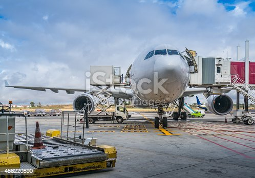 behind the scenes at Lisbon airport - plane at the gates
