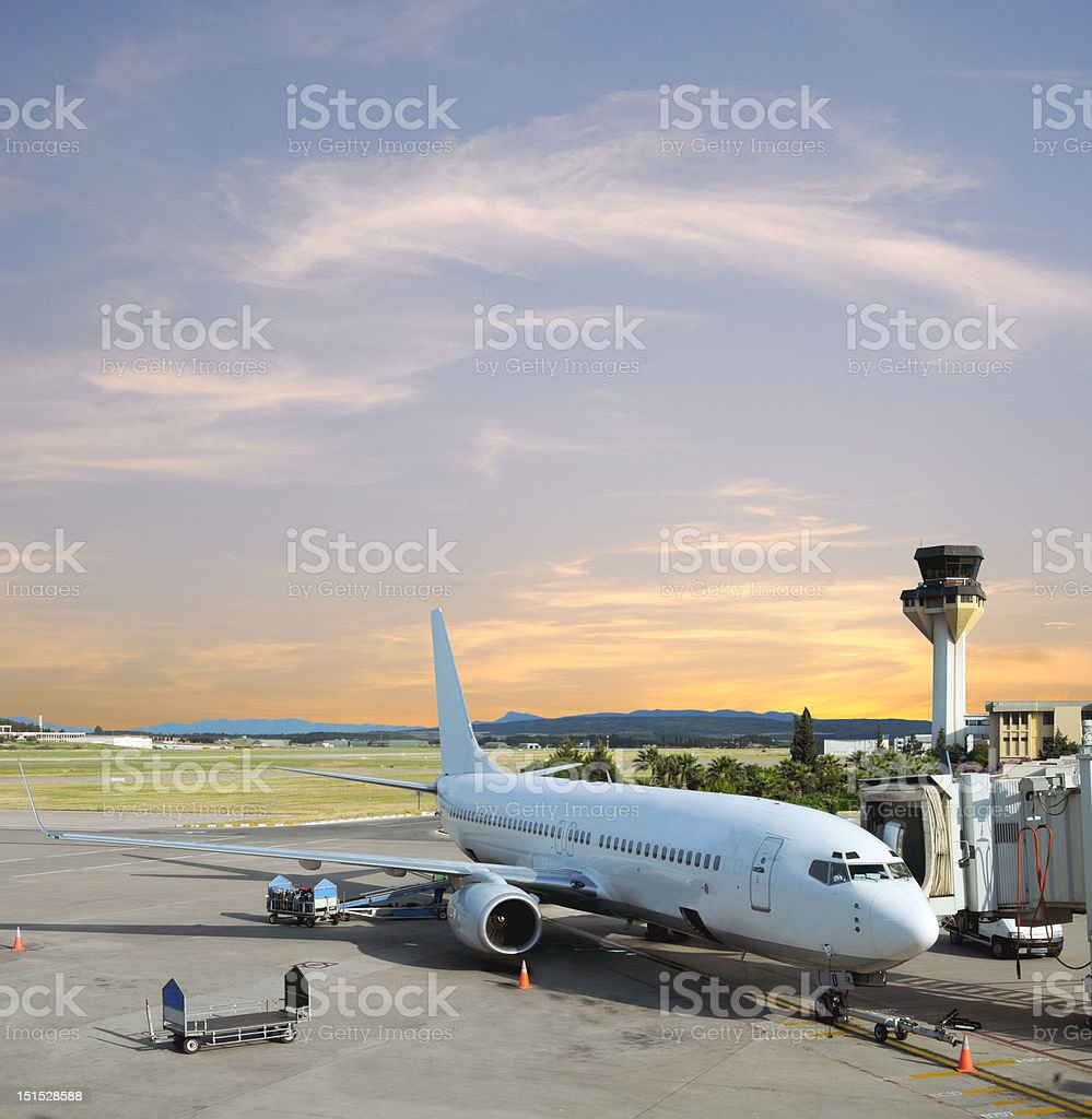 airport, plane, control tower, gate and beautiful sky stock photo
