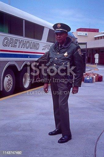 Monterey, California, UK, 1977. Airport policeman at the airport of Monterey.
