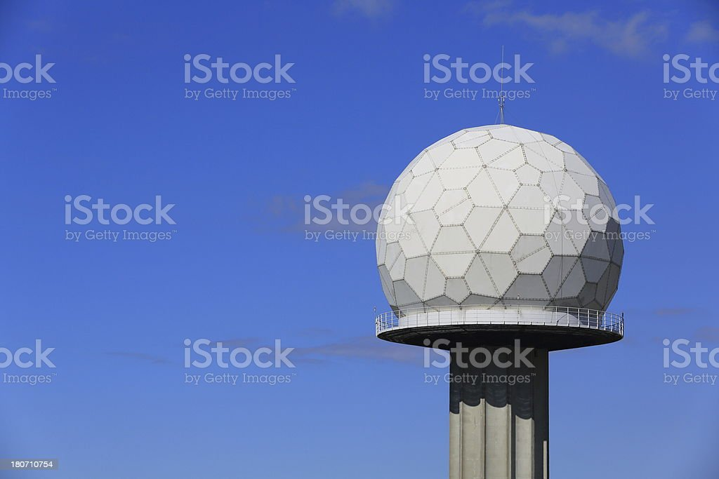 Airport radar tower with sphere royalty-free stock photo