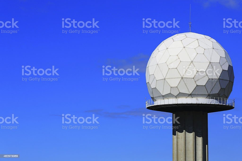 Airport radar tower with sphere stock photo