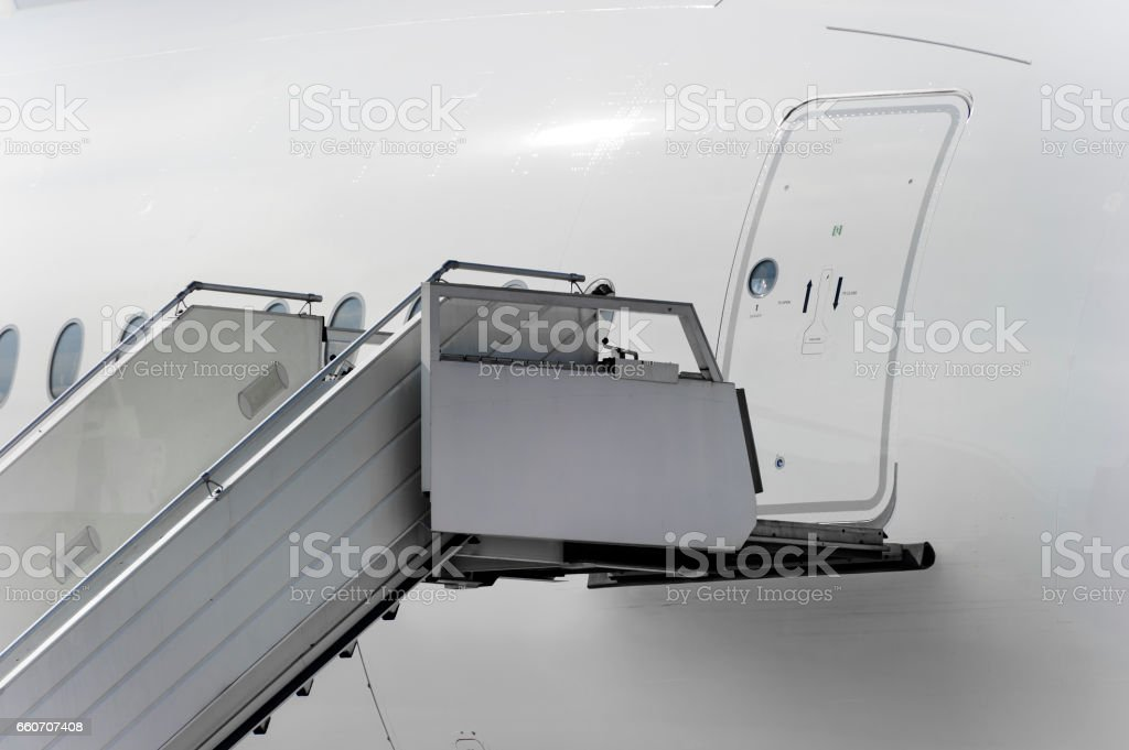 Airport ramp near plane stock photo