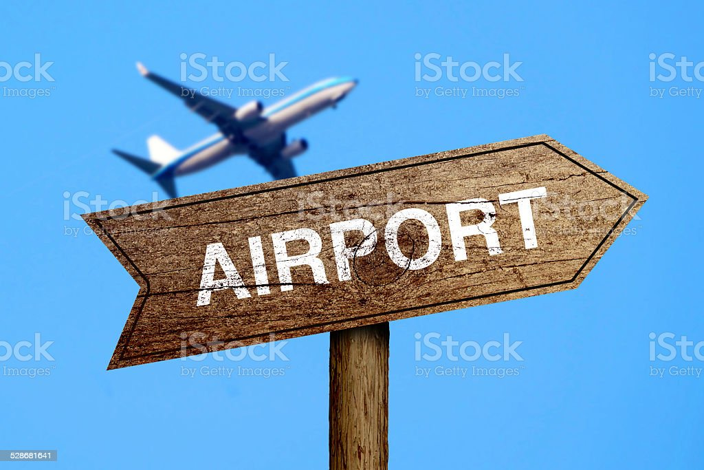 Airport Road Sign stock photo