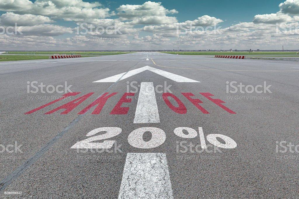 Airport runway arrow 20 percent stock photo