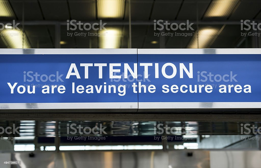 Airport Secure Area Sign stock photo