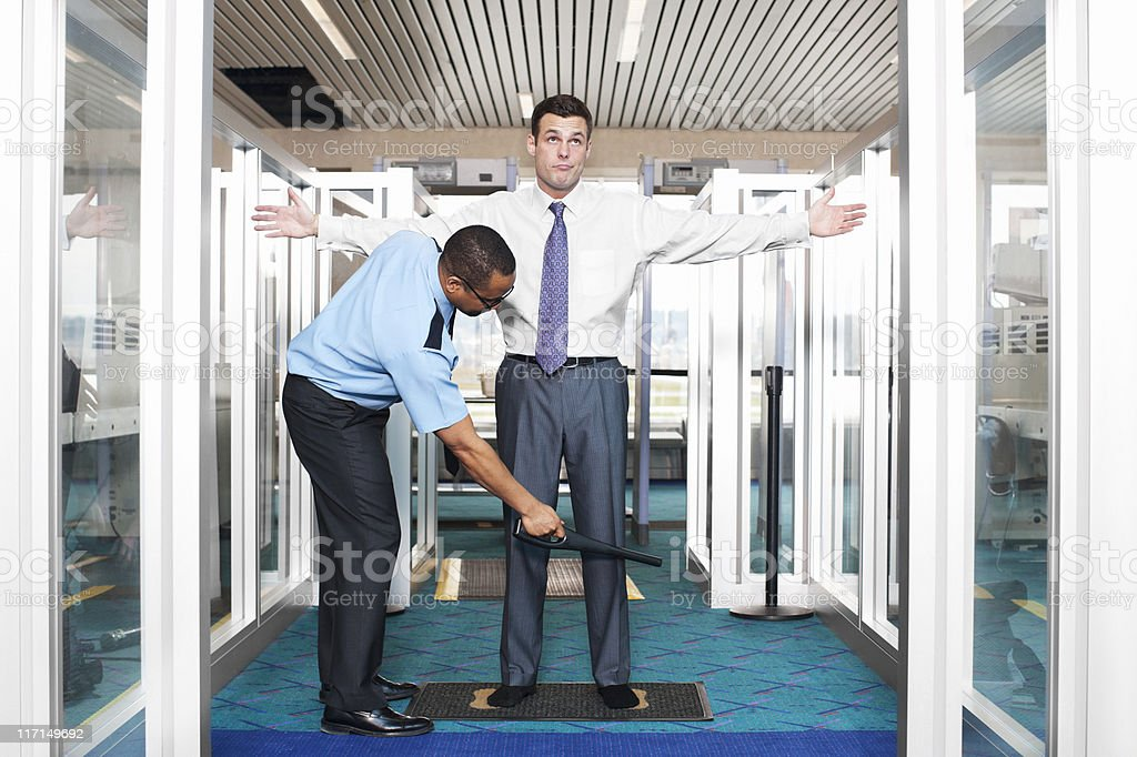 Airport Security Check with Young Businessman stock photo