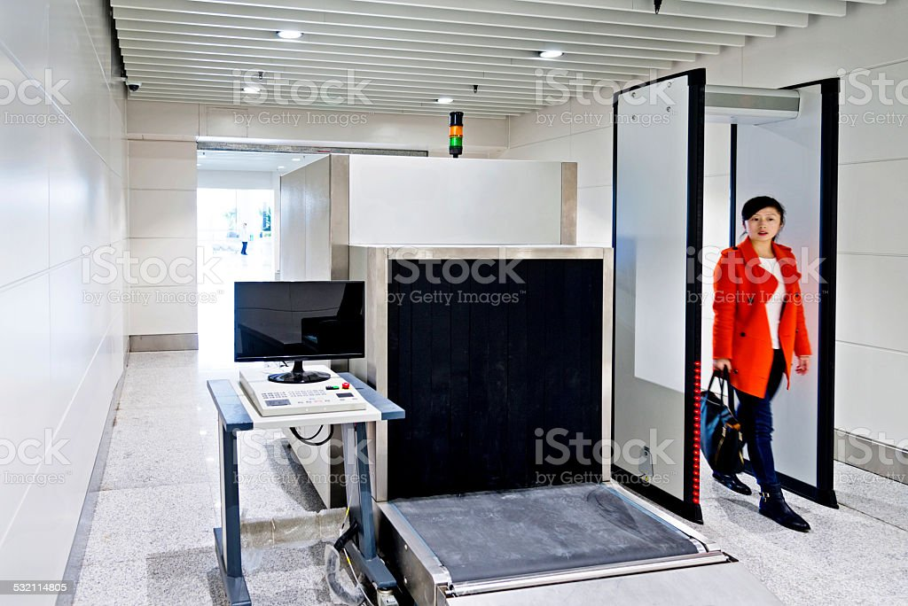airport security checkpoint stock photo