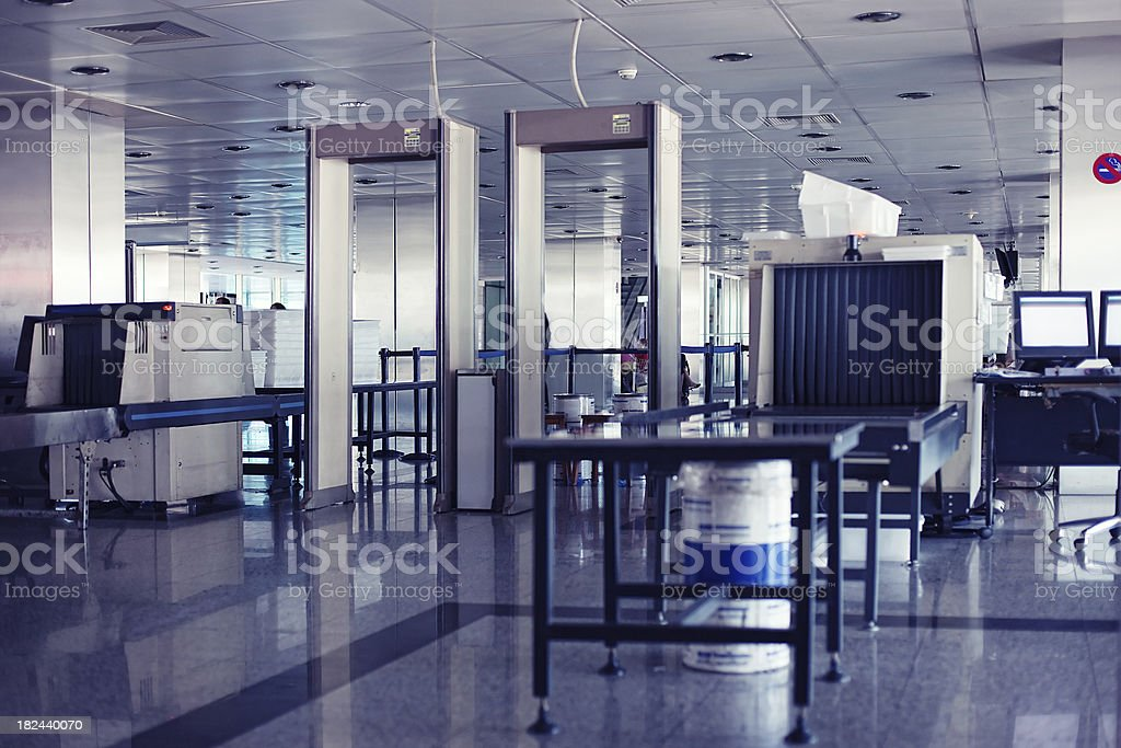Airport security point with Xray and metal detectors royalty-free stock photo