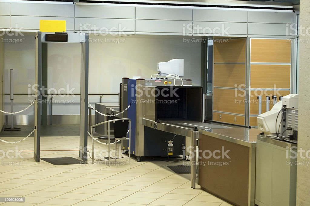 Airport Security station that is empty royalty-free stock photo
