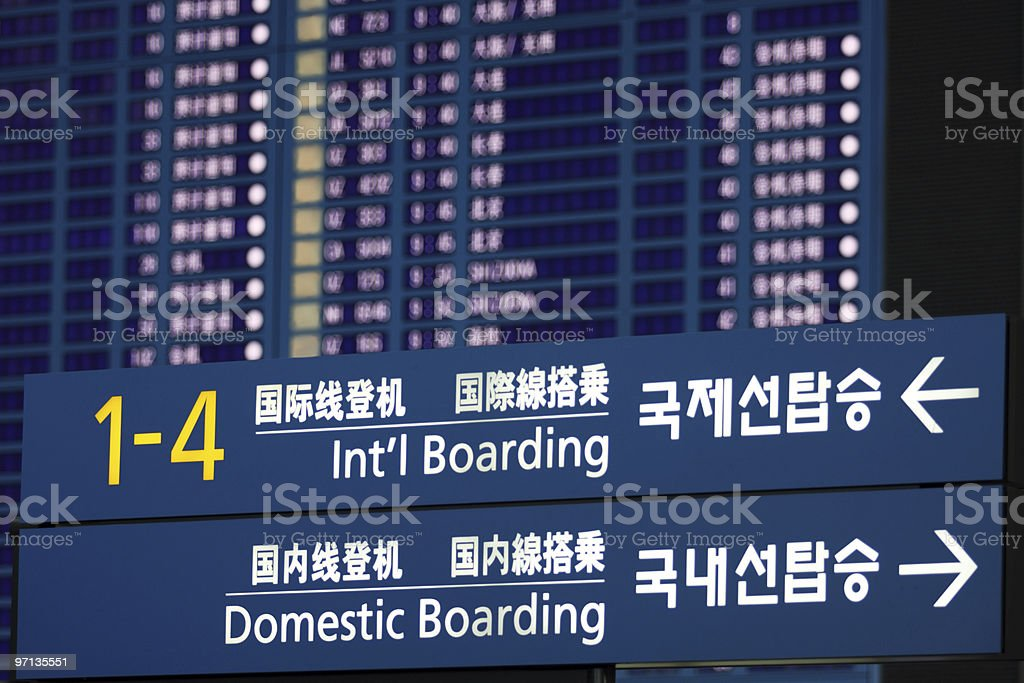 Airport sign and fligh information board royalty-free stock photo