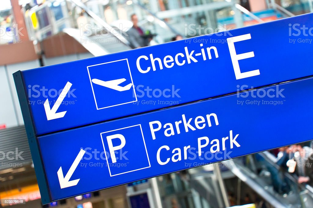 Airport Sign Check-In and Car Park stock photo