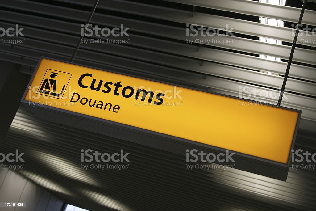 Airport sign - Customs royalty-free stock photo