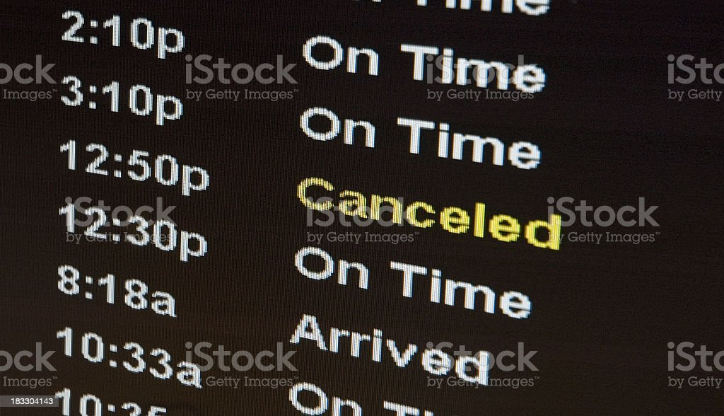 Airport Sign - Flight Canceled Travel Nightmare stock photo