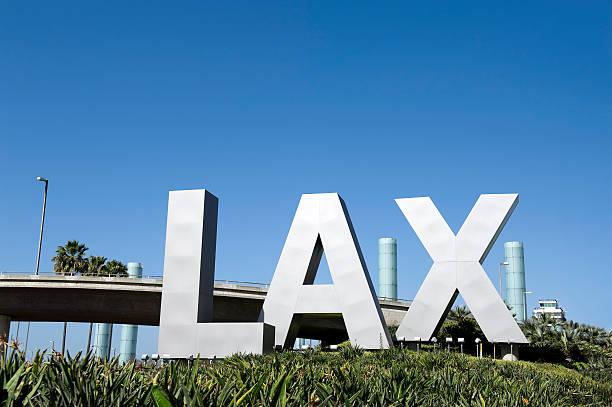 Aeroporto LAX placa - foto de acervo