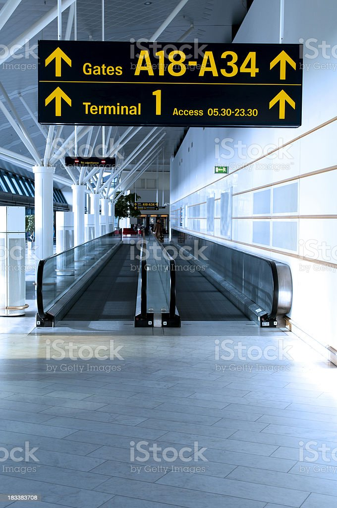 Airport sign shows the way to the gates and terminals stock photo