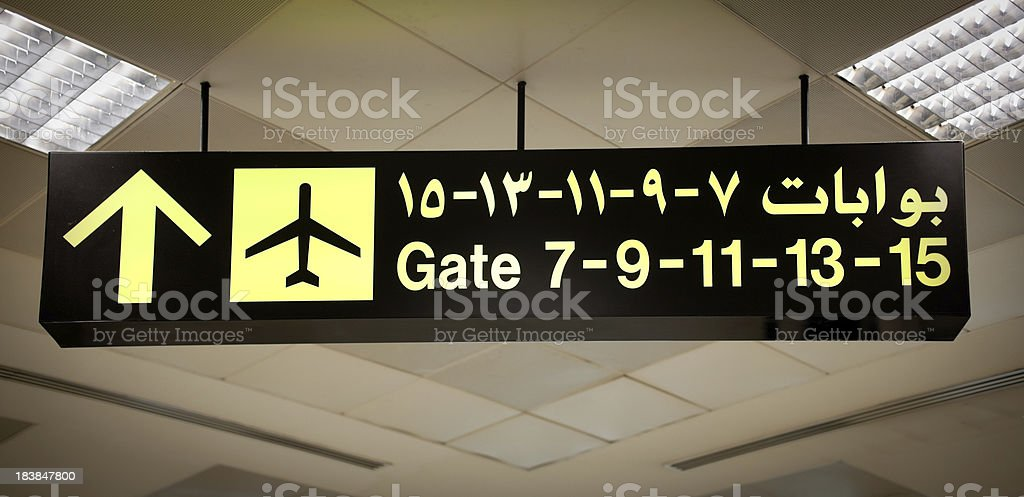 Airport Signs and Pictograms written also in Arabic royalty-free stock photo